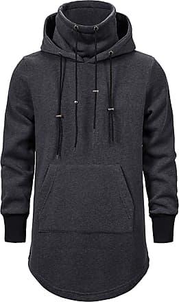 Whatlees Mens Tactical Hoodies Longline Darkgray Hoodie Sweatshirt Pullover Jumper Coat 02010371XDarkGray+XXL