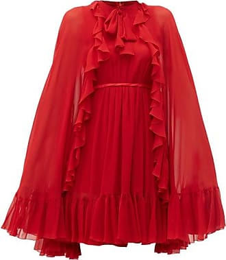 Giambattista Valli Ruffled-cape Silk-chiffon Mini Dress - Womens - Red