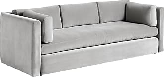 HAY Hackney 3-Sitzer Sofa Samt - warmes grau/Bezug Stoff Lola/BxHxT 254x75x96cm
