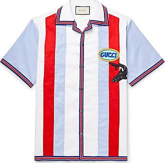 3679a8056 Gucci Camp-collar Appliquéd Striped Cotton Oxford Shirt - Blue