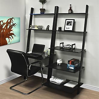 Best Choice Products 7-Shelf Leaning Bookcase and Computer Desk - Black