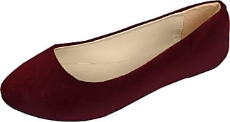 Vdual Women Ladies Slip On Flat Comfort Walking Ballerina Shoes Size UK 2.5-8 Wine Red