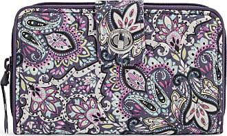 Vera Bradley Womens Signature Cotton RFID Turnlock Wallet, Bonbon Medallion, One size