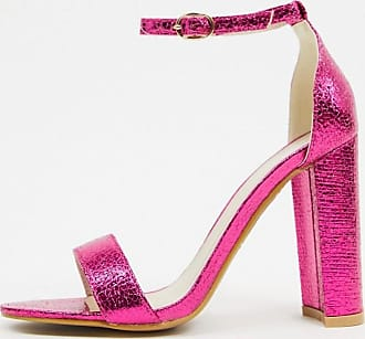 Glamorous Scarpe minimal rosa metallico con tacco largo