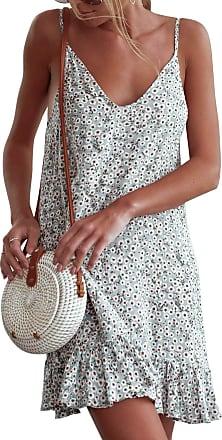 Yidarton Women Summer V Neck Sleeveless Mini Dresses Strap Boho Floral Backless Beach Holiday Party Sundress (XL, 1570-Green)