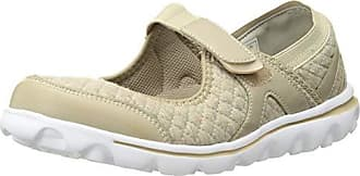 Propét Propet Womens Onalee Mary Jane Flat Beige Quilt 7H Wide US