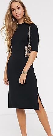 Y.A.S. Tall high neck dress with puff sleeve in black
