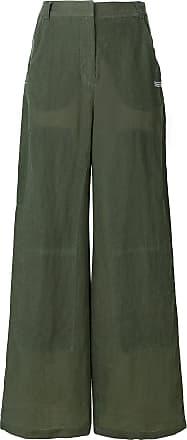 Off-white Calça pantalona em linho - Verde