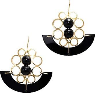 Tinna Jewelry Brinco Dourado Bolas Com Placa Acrílico Grande (Preto)
