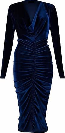 Momo & Ayat Fashions Ladies Ladies Celebrity Style Velvet Plunged V-Neck Ruched Front Bodycon Dress UK Size 8-26 (Navy, 2XL (UK 20-22))