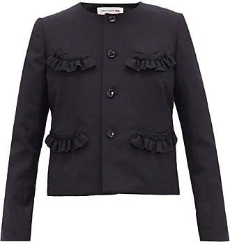 Comme Des Garçons Comme Des Garçons Girl - Ruffled Wool-twill Cardigan - Womens - Navy