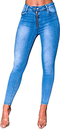 Ikrush Pasha Zipped Stretch Slim Jeans Denim UK 10