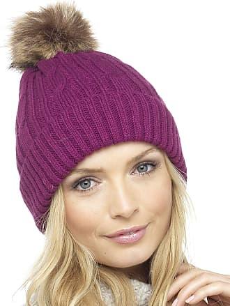 Foxbury Ladies Cable Knit Hat with Faux Fur Bobble Purple