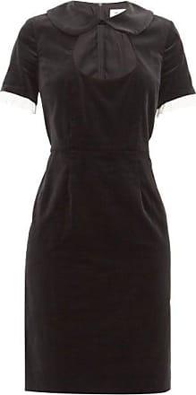 Comme Des Garçons Comme Des Garçons Girl - Ruffle-trim Cotton-velvet Dress - Womens - Black