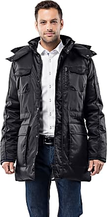 Vincenzo Boretti Mens Winter Coat Fitted Slim-fit Parka with Stand-up Collar, Detachable Hood and Drawstring at Waist Long-Sleeve Warm Smart Elegant Men Designer Padde