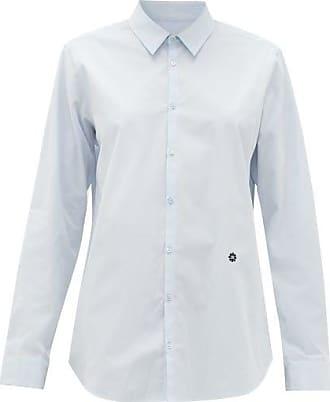 Raf Simons Logo-embroidered Cotton-poplin Shirt - Womens - Light Blue