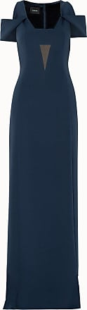 Akris Cold-Shoulder V-Neck Silk Crêpe Gown with Side Slit