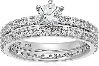 Amazon Collection Platinum Plated Sterling Silver Swarovski Zirconia Round Brilliant Cut Two-Piece Bridal Ring Set