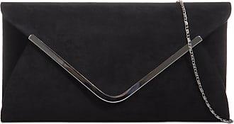 LeahWard Womens Suede Flap Clutch Wedding Bag Evening Handbags 320 (Black)