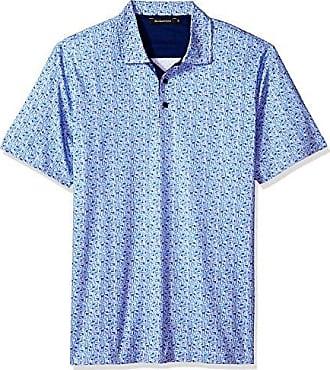 a22f53c9b Bugatchi Mens Lightweight Modern Trim Fit Printed Maze Polo Shirt, Royal L
