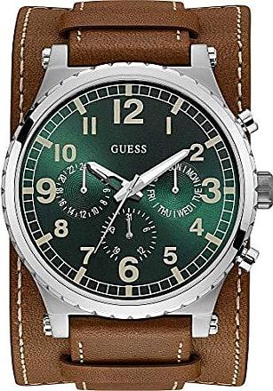 Guess Relógio Guess Masculino 92735G0GTNC1 Cronógrafo Pulseira Couro Marrom com Mostrador Verde e Caixa em Aço Prateado