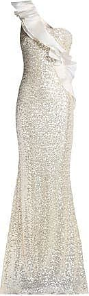 Badgley Mischka Badgley Mischka Woman One-shoulder Ruffle-trimmed Sequined Tulle Gown Ivory Size 12