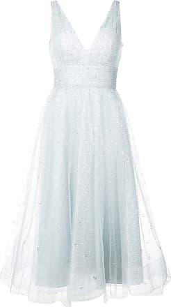 Marchesa glitter tulle midi dress - Blue