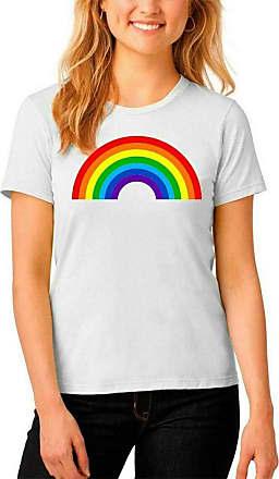 Islander Fashions Womens Rainbow Printed T Shirt Ladies Short Sleeve Summer Party Wear Top Tees White Medium/Large UK 12-14
