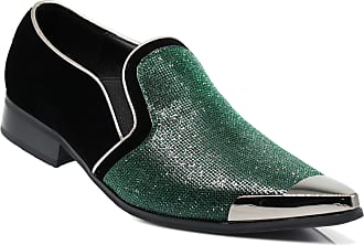 Enzo Jeans Romeo CRT Men Rhinestone Chrome Toe Suede Pointy Dress Loafer Slip On Fashion Shoes Green Size: 6.5 UK