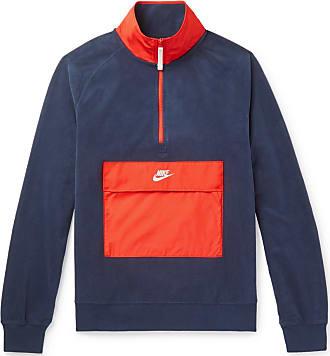 5a08ac8f58a3 Nike Colour-block Shell-trimmed Fleece Half-zip Sweatshirt - Navy