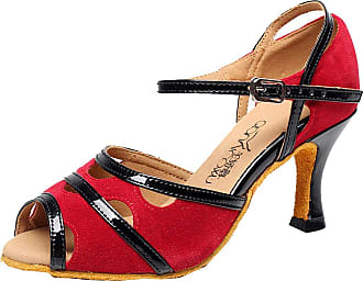 Find Nice Ladies Latin Tango Rumba Cha-cha Ballroom Party Mid Heel Dance-Shoes Red 3.5 UK