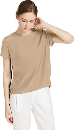 LilySilk Womens Charmeuse Silk T Shirt Tunic Blouse Top Ladies Short Sleeve 22 Momme Pure Silk (Light Camel, M/12)