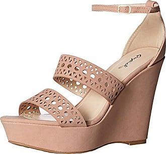 Qupid Womens Wedge Sandal, Blush Nubuck Polyurethane, 7 M US