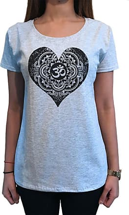 Irony Womens Tee Buddha Om Asum Yoga Heart Chakra Meditation Zen Peace TS1097 (Grey, XXLarge)