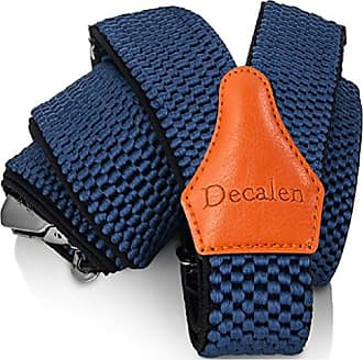 Decalen Mens Braces with Very Strong Clips Heavy Duty Suspenders One Size Fits All Wide Adjustable and Elastic Y Style (Blue 1)