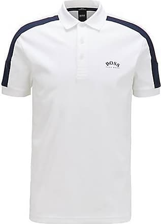 BOSS Slim-fit polo shirt in cotton with striped sleeves