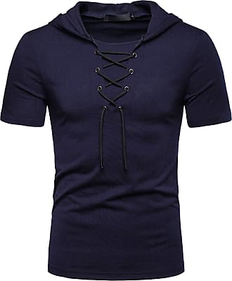 Whatlees Mens Casual Short Sleeve Jacobite Ghillie Shirt Hip Hop Lace-up Hooded T-Shirt 02010041XNavy+XL