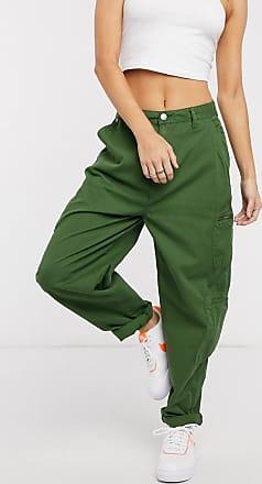 Pepe Jeans London Dua Lipa x Pepe Jeans - Cargohose mit hohem Bund und Utility-Taschen in Khaki-Grün