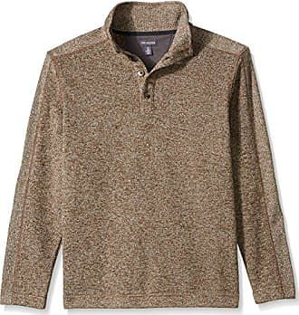 Van Heusen Mens Traveler Long Sleeve Button Mock Solid Fleece Pullover, Bungee Cord, Small