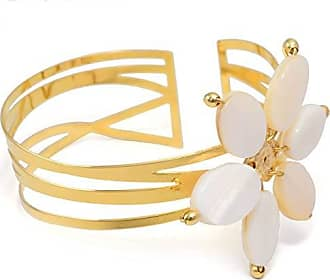 Tinna Jewelry Pulseira Bracelete Flor De Madrepérola (Dourado)