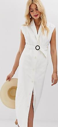 Asos Tall ASOS DESIGN Tall - Maxi-Hemdkleid aus Denim mit Gürtel und Rückenausschnitt-Weiß