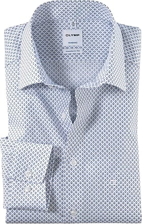Olymp Tendenz Modern Fit Circle Print Long Sleeve Shirt - White/Blue 16.5 (42cm) White