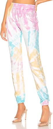 Frankie B. Kendall Crystals Stripe High Rise Sweatpant in Pink