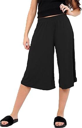Islander Fashions Womens Wide Leg Flared Elasticated Waist Culottes Ladies Fancy 3/4 Length Trouser Black Medium/Large UK 12-14