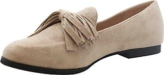 Saute Styles Womens Tassels Bow Loafers Ladies Fringe Flats Office Pumps School Shoes Size Beige Ballet Flats 7