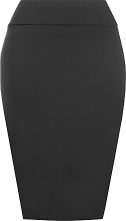 Re Tech UK Womens Ladies Plain Stretch High Waisted Bodycon Midi Skirt Pencil Tube 8-22 (8-10 S/M, Black)