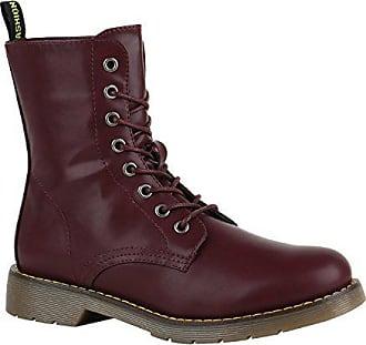 Stiefelparadies Gefütterte Damen Worker Boots Lack Grunge Punk Stiefeletten  Schuhe 149543 Dunkelrot Prints 37 Flandell 56adc579b2