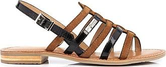 Sandales en cuir tréssées Haya marron & noir | Les Tropeziennes