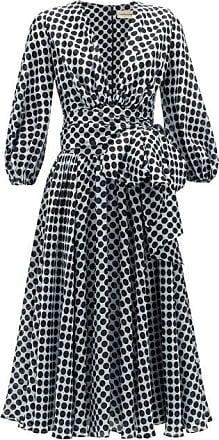 Alexandre Vauthier Tie-waist Dot-print Silk Midi Dress - Womens - Blue White