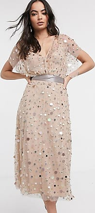 Asos midi dress with mirror sequin and contrast tie-Multi